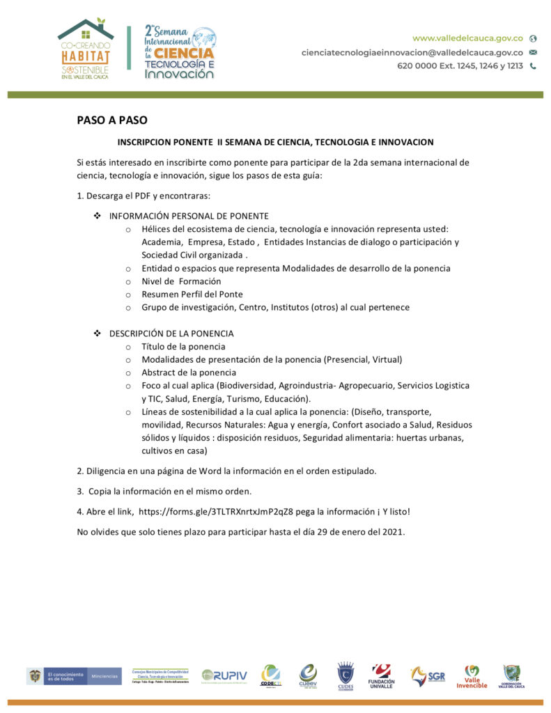 Información para ponentes.